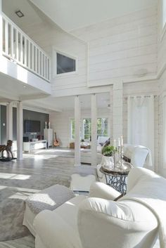 White Decor, House In The Woods, Log Homes, Future House, Interior Inspiration, Villa, Cottage, Living Room, Outdoor Decor