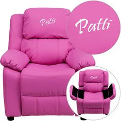 Flash Furniture Personalized Deluxe Padded Hot Pink Vinyl Kids Recliner with Storage Arms Personalized Kids Chair, Storage Chair, Pink Kids, Pink Child, Kids Seating, All Things Purple, Purple Stuff, Storage Compartments, Backrest Pillow