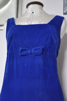1960s Blue velvet moire dress from Calling All Hipsters Vintage on FB, <3