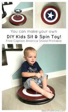 Easy DIY Sit & Spin Toy - Tutorial & Video - Abbotts At Home You can make your own easy DIY kids sit & spin toy. And it's pretty easy with pre-cut wood rounds and galvanized pipes and flanges. I've even included. Wood Projects For Kids, Wood Projects For Beginners, Woodworking Projects For Kids, Woodworking Kits, Diy Projects, Project Ideas, Canadian Woodworking, Outdoor Projects, Craft Ideas