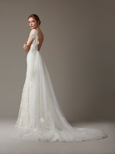 Lela Rose spring 2016 backless wedding dress with overlay skirt