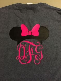 Disney Minnie or Mickey Mouse monogram initials - heat transfer vinyl on shirt.