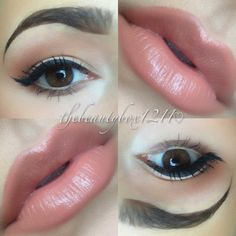 I love the tones of this makeup.  gorge lip color with hint on the eye.