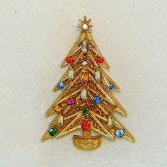 "Three Dimensional Vintage Rhinestone ART Christmas Tree Pin.  See me at the ""Vintage Jewelry Stars"" shop at http://www.rubylane.com/shop/vintagejewelrystars!!"