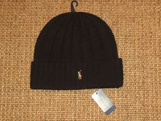 17a9b352d49 Polo Ralph Lauren Beanie Hat Black Wool Winter Skull Cap Men s New NWT