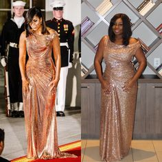 I made Michelle Obama's $12K Versace Dress. Rose Gold Metallic Gown. Michelle Obama Birthday, Versace Gown, Brittany, Metallic, Rose Gold, Gowns, Formal Dresses, How To Wear, Collection