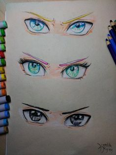 Naruto, Sakura, Sasuke Eyes. Team 7 drawing by Kamikita Ryuu.
