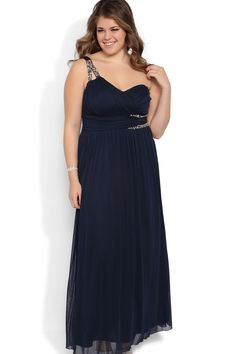 Plus Size Long Prom Dress With One Shoulder Double Stone Strap Chiffon USD 113.99 LDPA61ABZ2 - LovingDresses.com