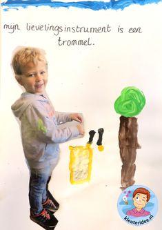 Schilder je lievelingsinstrument 2, thema muziek, Kindergarten music craft, music theme,  kleuteridee.nl