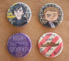 Sherlock Pins set of 4 by lisaveeee on Etsy