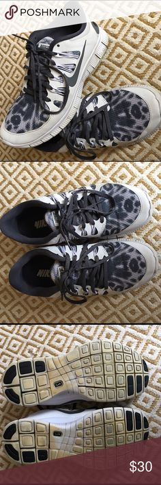 Nike Free Customized cheetah print NikeId shoes size 8.5 snug fit like a size 8 in grey, silver and white. Great used condition with light wear on bottoms. No trades, please comment for inquiries:) Nike Shoes Athletic Shoes