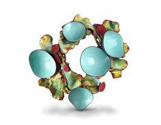 Wendy McAllister Brooch: Atoll Vitreous enamel, copper, oxidized sterling silver 10.1 x 8.9 x 3.8 cm