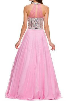 High Neckline Jeweled Bodice Long Dress