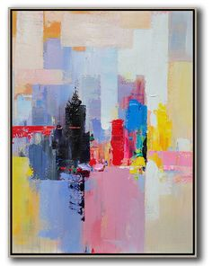 Palette Knife Abstract Skyline Art #L31B #Abstract #acrylic-painting #Artists_Leo-Chun