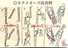 ◎カタイポーズ改善例 ・人体の軸変化 ・肩、腰の変化 ・以上二点を加味したパース変化