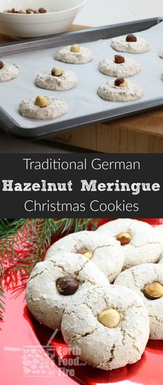 These German Hazelnut Meringue Cookies are light and oh so delicious! Perfect for the holidays and they only take half an hour to make! German Christmas Cookies, Holiday Cookies, Christmas Baking, Christmas 2019, Christmas Biscuits, Christmas Goodies, Hazelnut Meringue, Hazelnut Cookies, Pumpkin Recipes