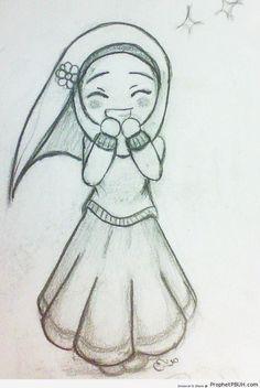 happy cute hijabi girl chibi drawing chibi drawings cute muslim characters