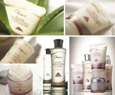 The Sonya® Skin Care Collection contains Aloe Purifying Cleanser, Aloe Refreshing Toner, Aloe Nourishing Serum, Aloe Balancing Cream, and Aloe Deep-Cleansing Exfoliator.  http://www.healeraloe.flp.com