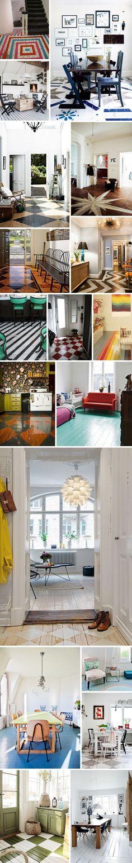 Idées déco originales de planchers peints BANDE arc en ciel au milieu de la chambre, le reste en blanc pour faire le lien avec le boudoir