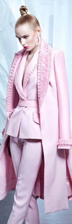 The church ladies at Mount Carmel want to see Grace in a more polished look. I hope they can handle this cotton candy suit. Nicolas Jebran couture 2015