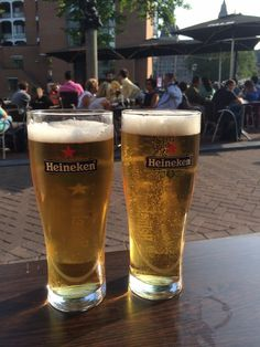 It's always happy hour in Amsterdam!  Two refreshing Heinekens at Cafe Hans et Grietje  #netherlands #holland #amsterdam #heineken #beer #travel