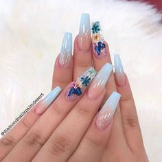 by Nails Palm Desert Simple Gel Nails, Classy Acrylic Nails, Blue Acrylic Nails, Square Acrylic Nails, Summer Acrylic Nails, Acrylic Nail Designs, Aycrlic Nails, Swag Nails, Fire Nails