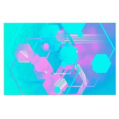 KESS InHouse Infinite Spray Art 'Emersion' Teal Pink Dog Place Mat, 13' x 18' -- Awesome dog product. Click the image : Dog food container