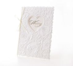 Personalized Custom Wedding Invitations Counts of 25 Cards + Seals + Envelopes (White Heart & Embossed Flower W5003) with Rsvp