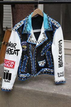 Men,s silver studded genuine leather jacket Rock punk blue white jacket : Diy Leather Jacket, Biker Leather, Leather Jackets, Leather Belts, Cowhide Leather, Leather Men, Punk Jackets, White Jackets, Biker Jackets