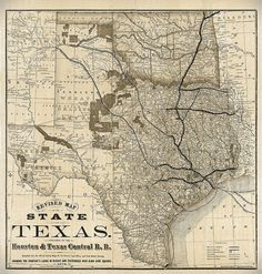 1876 Old Texas Map Vintage Historical Wall map by VintageImageryX