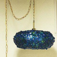 Vintage hanging light hanging lamp saucer globe by moxiethrift Vintage Lamps, Unique Vintage, Retro Lighting, Brass Chain, Hanging Lights, Pendant Lamp, Globe, Crochet Earrings, Ribbon