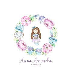 Watercolor branding - Watercolor Logo - Logo Design - Watercolor wreath - Flower wreath - Clay flowers - Tilda dolls - Bow - Photography Logo
