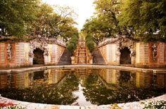 The waterfall beneath the fountain