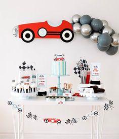 2nd Birthday Party For Boys, Race Car Birthday, Race Car Party, Cars Birthday Parties, Car Themed Birthday Party, Race Cars, Boy Birthday Themes, Birthday Decoration For Boy, Vintage Birthday Decorations