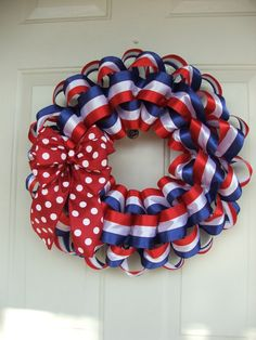 Patriotic Wreath USA  4th of July  Red white and blue Wreath by TowerDoorDecor, $35.00
