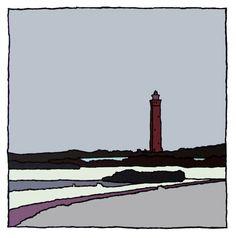 Zeefdruk van Wim van Willegen, vuurtoren Ouddorp / winter, 30 x 30, oplage 40, 2013 verkrijgbaar bij http://www.studiozuidwest9.nl/