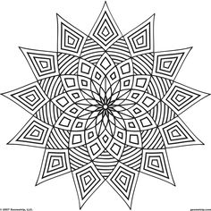 Detailed Coloring Pages For Adults | Geometrip.com - Free Geometric Coloring Designs - Shapes