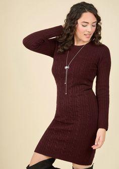 Luxe Lodge Sweater Dress in Merlot