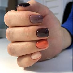 Catch the inspiration portion to a beautiful design manicure short nails! More than 50 ideas trendy manicure on short and very short nails Pretty Nail Colors, Fall Nail Colors, Pretty Nails, Warm Colors, Dark Nail Designs, Fall Nail Art Designs, Nagellack Design, Nailart, Short Nails Art
