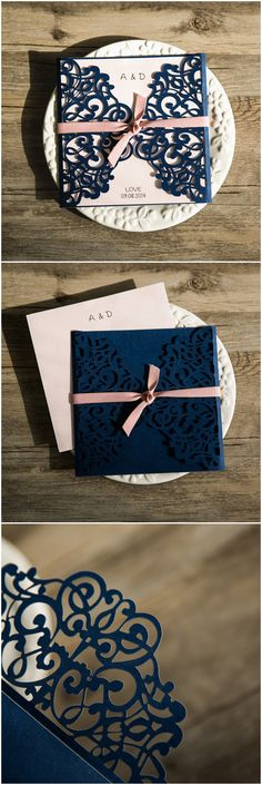 classic navy blue blush pink laser cut wedding invitation EWWS072