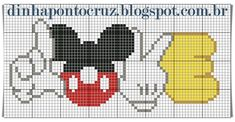 Cross Stitch Bookmarks, Cross Stitch Alphabet, Cross Stitch Charts, Disney Cross Stitch Patterns, Cross Stitch Designs, Pixel Art, Stitch Ears, Crochet Disney, Hello Kitty Wallpaper