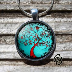 Magic Tree  Blue Art Pendant  Glass Dome Jewelry by ClearBeauty, £7.99