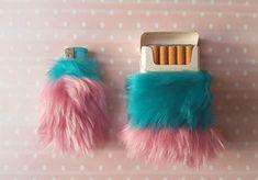 Pastel Goth Cigarette Case Pink Girly Lighter Set by Kerenika