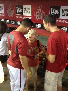 One golden ticket winner was such a sweetie, he brought his grandma to meet her favorite player, Gerardo Parra!