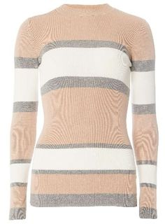 1a4829378e Dorothy Perkins Womens **Tall Neutral Striped Crew Neck Jumper- Tall  knitted jumper in