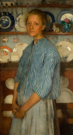 George Clausen Normandy peasant, am fascinated by this painting. The exquisite painting of the dishes behind this girl! That they do not detract from her beautiful portrait is so interesting. I love the expression on her face. Figure Painting, Painting & Drawing, Illustration Art, Illustrations, English Artists, Art Uk, Paintings I Love, Portrait Art, Figurative Art