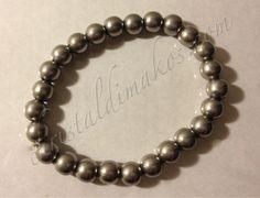 silver solid bead bracelet 1a