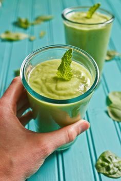 """Give your day a nutrition """"punch"""" with this delicious pear avocado smoothie featuring creamy avocado, spinach, fresh mint and pear."""
