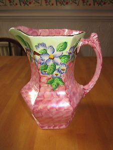 MALING-Rose-Pink-Lustre-Embossed-Blossom-Bough-Large-Hexagonal-Jug-c-1955