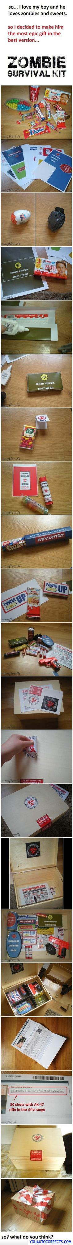Zombie Survival Kit - oh my.  Need to make this for my brother's birthday.